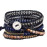 KELITCH Mix Beaded with Metal Bead Bracelet on Leather 5 Wrap Bracelet Handmade New Top Jewelry (Dark Blue)