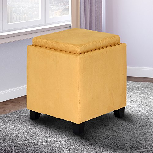 Yellow Storage Ottoman - Armen Living LC530OTMFYE Rainbow Ottoman in Yellow and Black Wood Finish