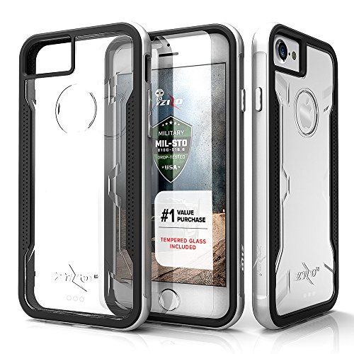 Zizo Shock Series Compatible with iPhone 8 Case Military Grade Drop Tested with Tempered Glass Screen Protector iPhone 7 case Silver