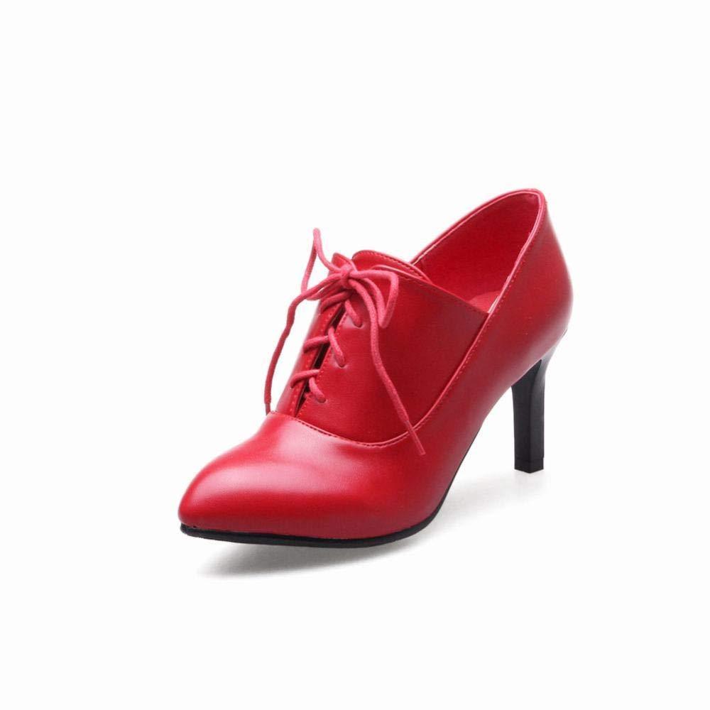 WSR Damen Stiefeletten, Winterschuhe Martinstiefel Spitze Stiefel High Heel 7.5Cm Stiefeletten, Damen 35-43 7227b7