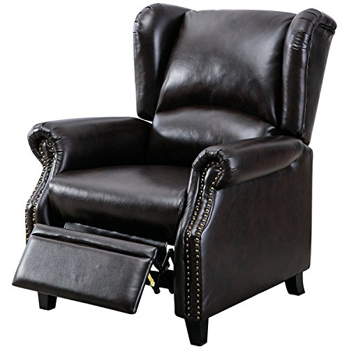 BONZY Traditional Wingback Pushback Recliner Chair Solid Wood Legs Manual Recliners - Dark Brown - Traditional Wingback Chair