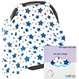 Best Baby Car Seat Covers for Boys, Bonus Decorative Washcloth Gift, Organic Cotton Canopy for All Infant Child Carrier Seats, 5-in-1 Breastfeeding Nursing & Stroller Cover & Babies Travel Blanket!