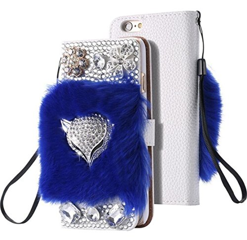 Galaxy J7 2017 Fox Case,Jesiya Luxury 3D Handmade Bling Diamond Fox Flowers Fur Hair Plush Cover PU leather Wallet Card Slot Flip Flio Kickstand Case …
