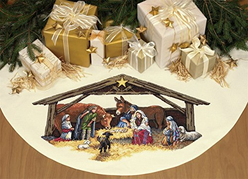 Dimensions Nativity Scene Cross Stitch Tree Skirt / Table Cover ()