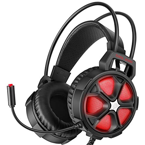 EasySMX Gaming Headset Xbox One Headset with Surround Sound Stereo, PS4 Headset with Mic & LED Light, Compatible with PC, Laptop, PS4, Xbox One Controller(Adapter Not Included), Nintendo Switch, Mac