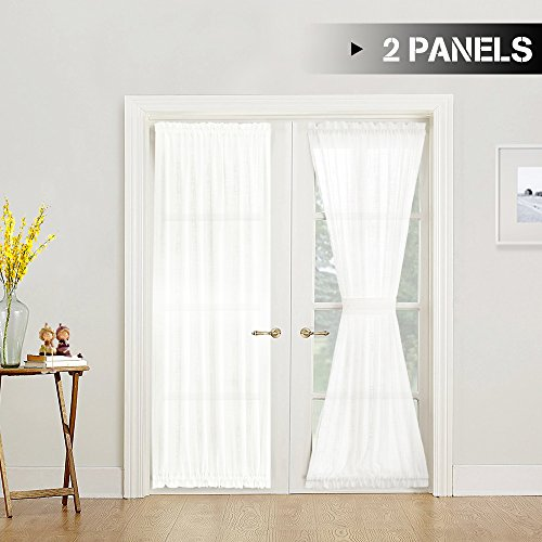 Sliding 2 Door (jinchan White Sheer French Door Panels Privacy 2 Panels Linen Textured French Door Curtains Solid Sliding Door Curtains W52 x L72 -inch, Matching 2 Tie backs Included)