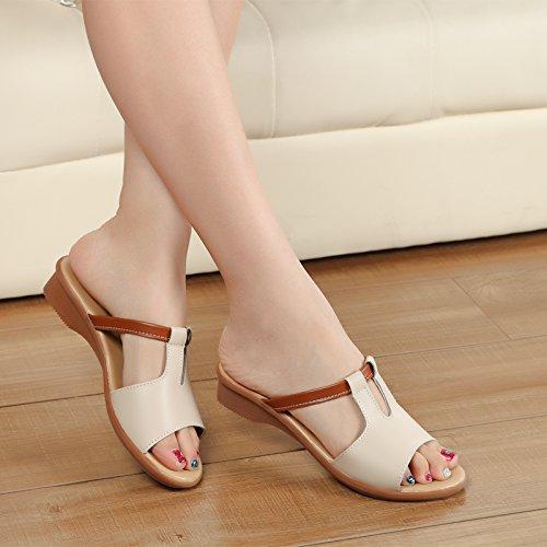 ZPPZZP Ms sandali pantofole estate pendenza con fondo piatto 37EU bianco