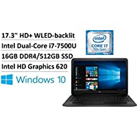 2017Flagship HP High performance 17.3 HD+ WLED-backlit Laptop, Intel Dual-Core i7-7500U up to 3.50GHz, 16GB DDR4, 512GB SSD, DVD Burner, WiFi, Webcam, HDMI, Intel HD Graphics 620, DTS Sound, Win 10