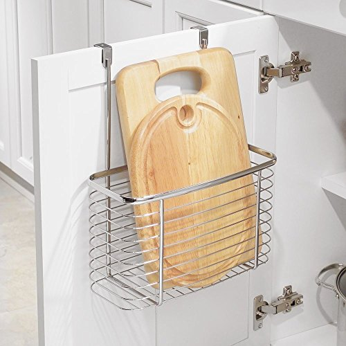 InterDesign Axis Over the Cabinet Kitchen Storage Organizer Basket for Aluminum Foil, Sandwich Bags, Cleaning Supplies - Large, Chrome by InterDesign (Image #7)