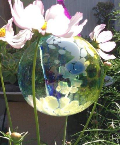 Kitras Art Glass Light Blue Fairy Orb Witch Ball Ornament