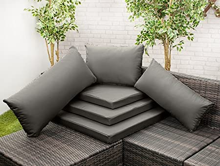 Garden & Outdoors Gardenista Grey Water Resistant Rattan Furniture 54cm x 40cm Replacentment Back Cushion