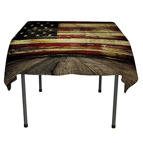 United States Cloth tablecloths Vintage American Flag on Wooden Planks Wall Background Grunge Print Umber Cream Red Blue Table Cloth Picnic Outdoor Spring/Summer/Party/Picnic 52 by 70