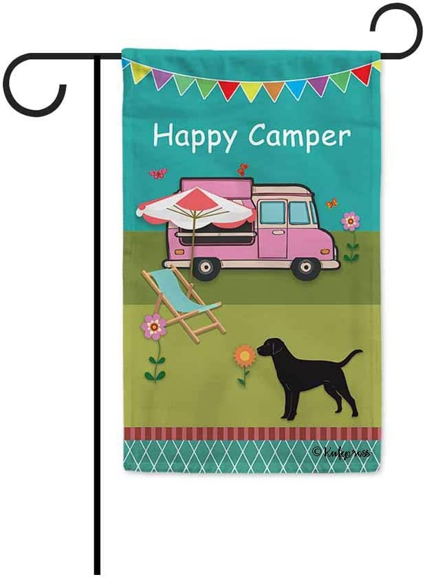 KafePross Happy Camper Trailer Spring Summer Decorative Garden Flag Happy Holiday with Friends and Love Dog Decor Banner for Outside 12.5X18 Inch Double Sided