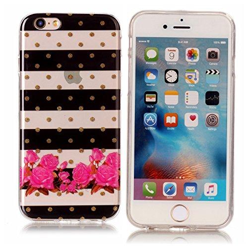 iPhone 6 / 6S Plus Case Custodia Cassa- Fiore Rosso Trasparente Custodia TPU Silicone Bumper Sottile Protezione Copertura Antiscivolo Resistente Modello Coperture Guscio per Apple iPhone 6 / 6S Plus