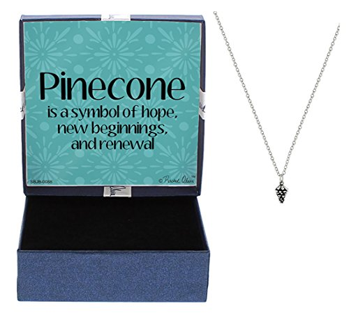 Mother's Day Gifts Graduation Gift Necklace Pinecone Necklace Silver-Tone Pinecone Pendant Necklace Jewelry Box Graduation Gift Jewelry Hope New Beginnings High School Graduation Gift Jewelry (High Fashion Necklace Gift Box)
