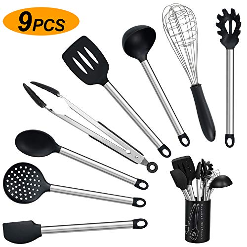 Kitchen Utensils Set, 9-Piece Silicone Cooking Utensil Set,Non-stick Heat Resistant Silicone,with Stainless Steel Handle…