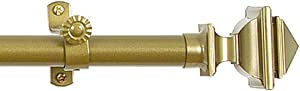 Achim Home Furnishings Buono II Bach Curtain Rod with Finials, 28-Inch Extends to 48-Inch, Gold