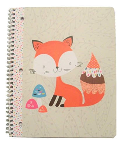 Carolina Pad Studio C Wide Ruled Spiral Notebook ~ Forest Friends (Red Fox with Decorative Mushrooms; 8.5'' x 10.5''; 80 Sheets, 160 Pages) by Studio C