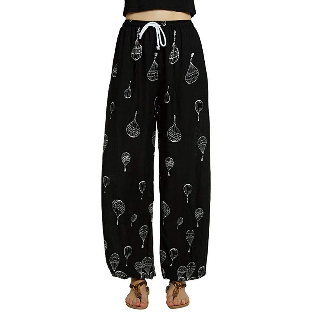 beautyjourney Pantalones casuales de las mujeres, Pantalones con estampado floral de Bohemia Yoga Pantalones Harem Pantalones para correr Pantalones con cordones