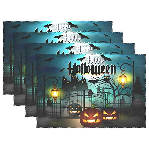 Fengye Placemats Halloween Pumpkin Kitchen Table Mats Resistant Heat Placemat for Dining Table Washable 1 Piece