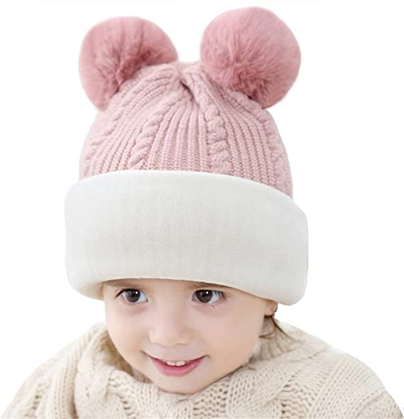 Color : White JINGB Home Childrens hat Baby Wool hat Winter 3-6 Years Old Female Baby Fashion Cartoon Long Tail Earmuffs hat