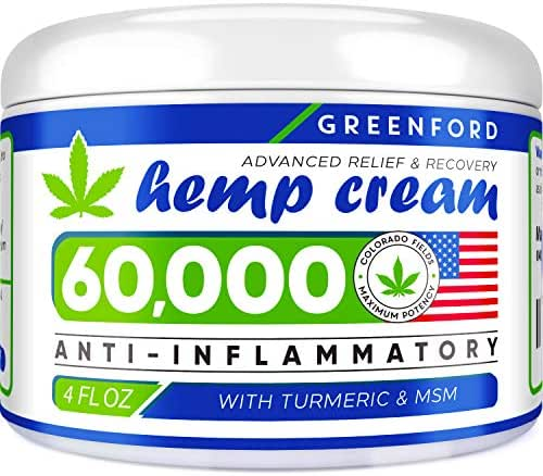 Hemp Cream for Pain Relief - 60,000 MG American Hemp Extract - Natural Treatment with Emu Oil, Arnica, MSM & Menthol for Muscle, Joint, Sciatica & Back Pain - Made in USA - Omega 3-6-9 Infused