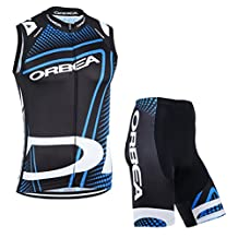 2016 Orbea Team Black Cycling Jerseys Sleeveless Shirts 3D gel pad Ropa Bib Shorts Suit Women's Cycling Clothing Kit (Black, L)