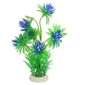 Jardin Artificial Plastic Flower Plant for Aquarium, 11-Inch High, Green/Blue