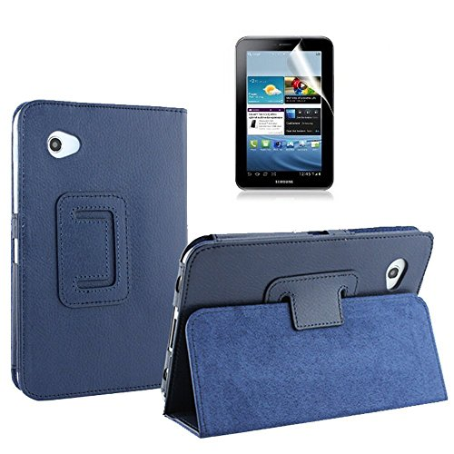 Aroko(TM) PU Leather Flip Case with Stand for 7-inch Samsung GALAXY Tab 2 P3100/P3110/ P3113/P6200 (Samsung Galaxy Tab 2 7inch, DeepBlue)