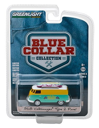- 1968 Volkswagen Type 2 Panel Van North Shore Surfboard Repair Company Blue Collar Collection Series 3 1/64 Diecast Model Car by Greenlight 35080 C