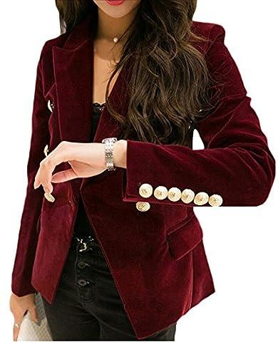 WSPLYSPJY Womens Velvet Slim Fit Sexy Buttons Office Coat Blazer 1 XL (Office Coat)