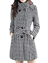 Winme Womens Longline Houndstooth Stand Collar Fromal Trench Coat
