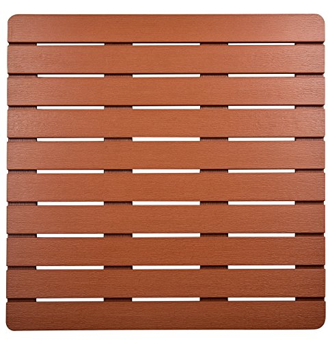 (I FRMMY Premium Large Bath Tub Shower Floor Mat Made of PS Wood- Suitable for Textured and Smooth Surface- Non Slip Bathroom Mat with Drain Hole - 21.8 x 21.8 inch (Teak Color))
