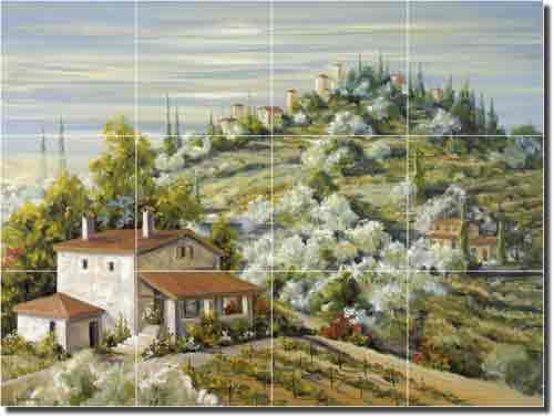 (Olive Groves by Tisha Whitney - Tuscan Landscape Ceramic Tile Mural 18