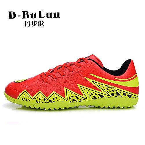 Xing Lin Chaussures De Football Chaussures De Football Masculin De LOngle En Caoutchouc Pour LEntraînement De Football Féminin Ag Chaussures De Gazon Artificiel, 44, Rouge/Vert Fluorescent