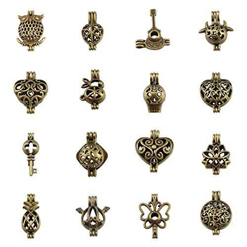 16PCS Mixed Wholesale Lockets Beads Cage Charms for Aromatherapy Essential Oil Diffuser Necklace Bracelet Making