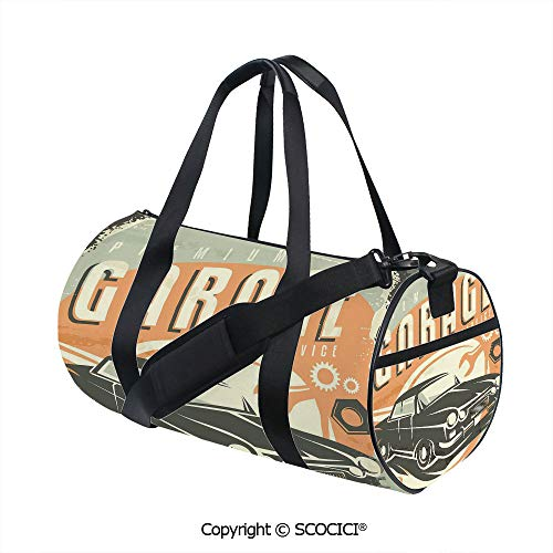 Canvas cylinder sports bag,Promotional Retro Design Auto Mechanic Car Service Concept Nostalgic VehicleEasy to Carry,(17.6 x 9 x 9 in) Multicolor