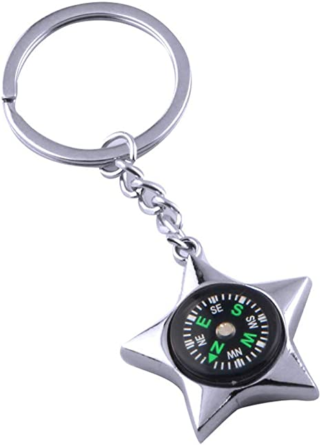 Pendant Keyring with Carabiner and Compass Key Ring Camping