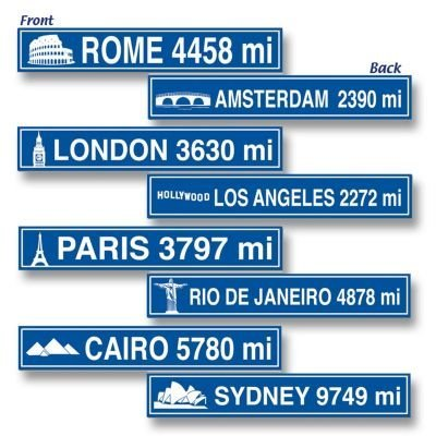 [Travel Street Sign Cutouts   (4/Pkg)] (Street Sign Halloween Costumes)