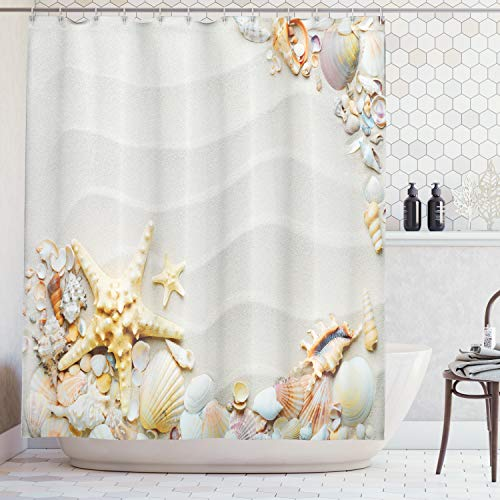 Ambesonne Starfish Decor Shower Curtain, Seacoast with Sand Colorful Various Seashells Tropics Aquatic Wildlife Theme, Fabric Bathroom Decor Set with Hooks, 70 inches, White Pearl ()