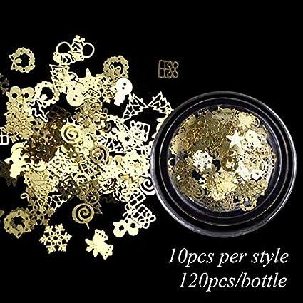 MEIYY Decoración de uñas 1 Caja Navidad Oro Rebanadas De Metal Decoraciones Para Uñas 3D Copos De Nieve Huecos Lentejuelas De Estrella Diseños De Uñas Accesorios Manicura: Amazon.es: Belleza