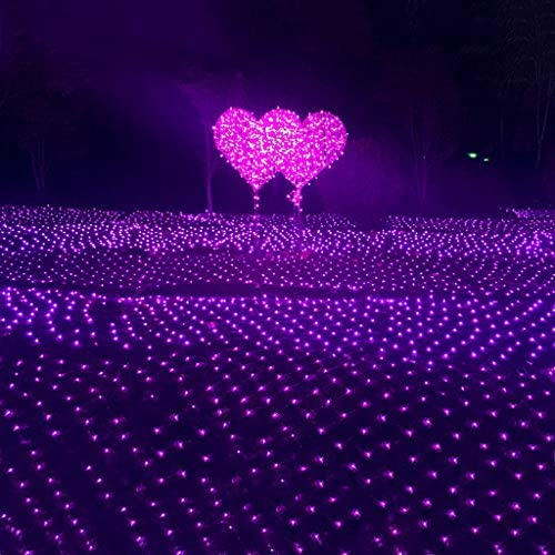JYZT Purpurrote Fee Indoor/Outdoor Lichternetz, Weihnachts Vorhang Wasserdichtes Dekorations Schnur Lichterketten, 6 × 4M 880 LED 8 Modi