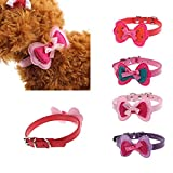 Pinleg New Pet Collars Double Lovely Bowknot Adjustable Pet Cute Collars Cat Dog Puppy Necklace Bowknot Collar (Red)