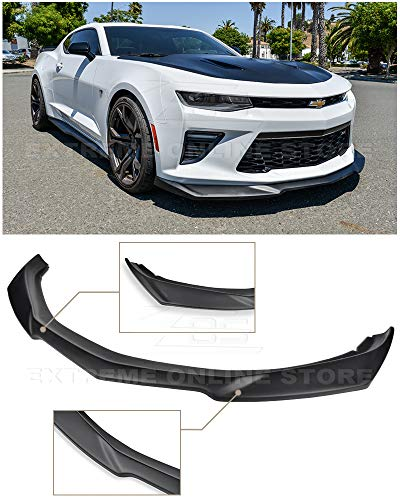 Replacement For 2016-2018 Chevrolet Camaro SS Models | ZL1 Style ABS Plastic PRIMER BLACK Front Bumper Lower Lip Splitter ()