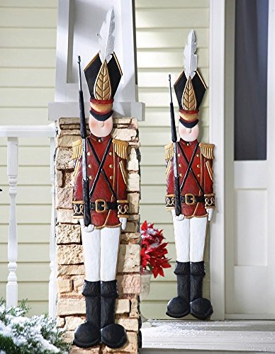 2 Pieces Set Deep Red Jacket Metal Toy Soldiers Nutcracker Christmas Spirit Holiday Wall Hanging Decoration (Christmas Crackers 2)