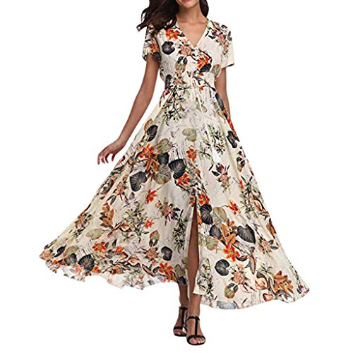 JESPER Womens Boho Long Maxi Dress Ladies V Neck Floral Casual Beach Party Wedding Guest Dress (White C, 14) (Best Quinceanera Dress Designers)