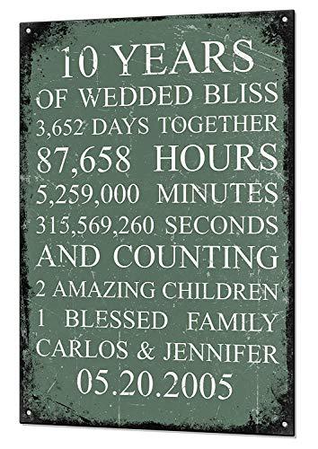 Wedding Anniversary Gift Custom Vintage Metal & Matching Fridge Magnet Keepsake Sign Retro Tin Plaque 10 Years 20 Years 25 Years 5 Year -