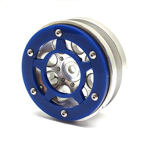 Axial Beadlock Rings (Gear Head RC Axial 1.9 Wheel Beadlock Rings, Style No. 8, Blue Acrylic (4))