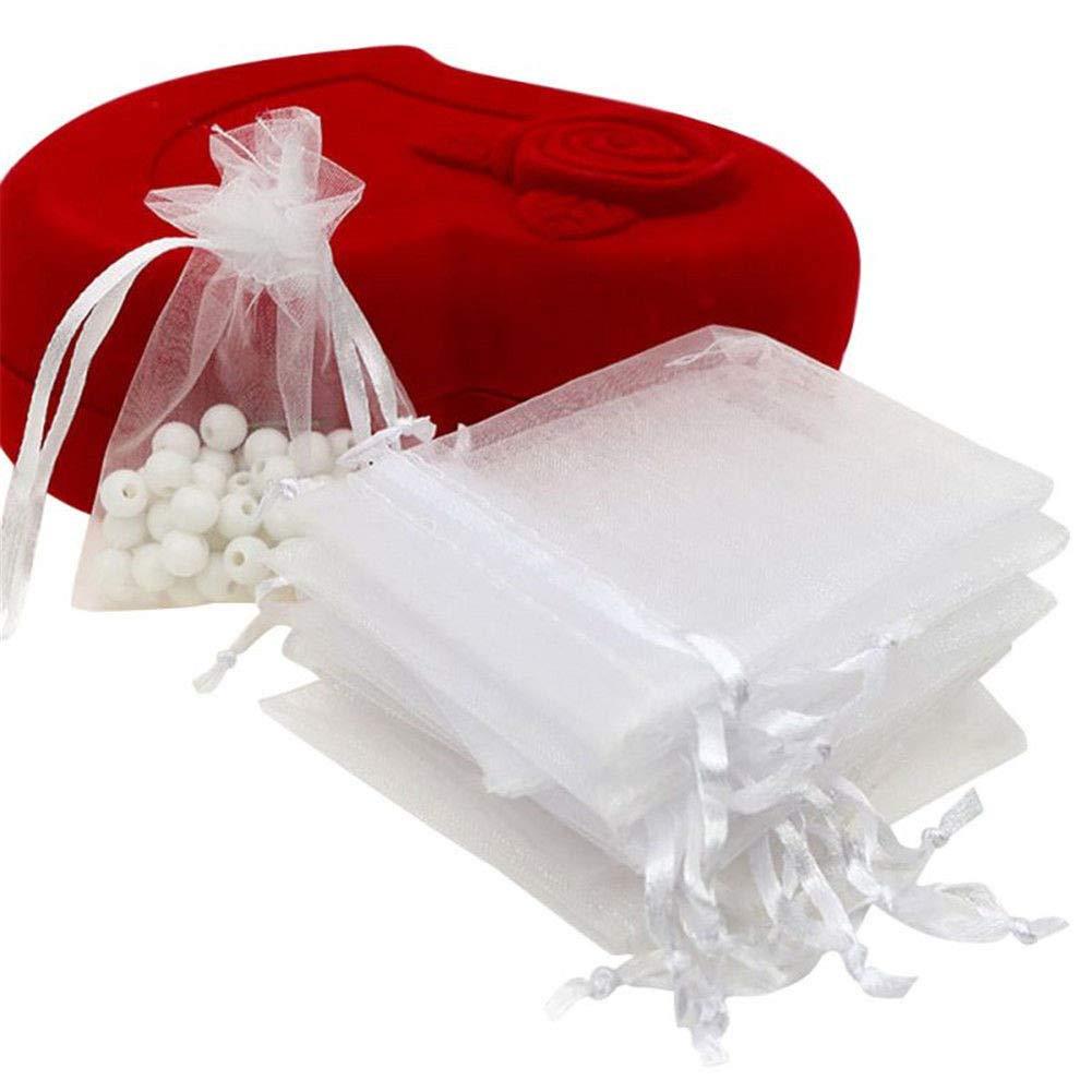 UNHO Sachet Organza 100 Pièces Sachets Pochettes Cadeaux Bijoux Bonbons Décoration Marriage 13 x 18cm Blanc Mastertrade
