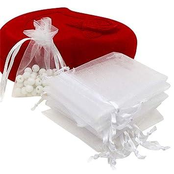 UNHO 100 Piezas Bolsas de Organza para Boda Bolsitas Transparentes para Joyas Regalos Recuerdos Caramelos Dulces Fiestas 7 x 9cm Color Blanco